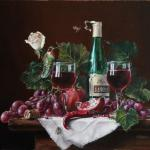 still life classical oil painting with grapes